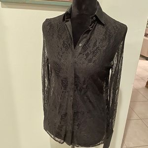 All Saints Black Lace Shield Collared Top